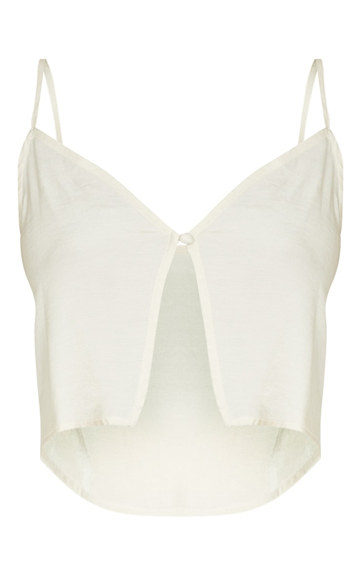 Tall Champagne Button Detail Split Front Strappy Crop Top 5