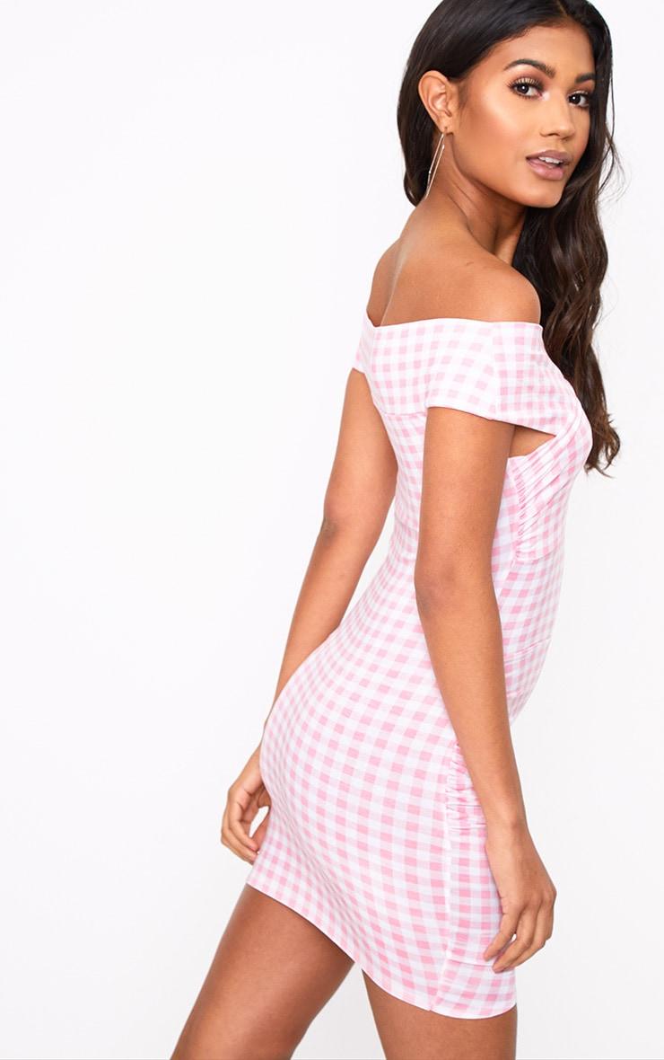 Pink Gingham Bardot Bodycon Dress 2