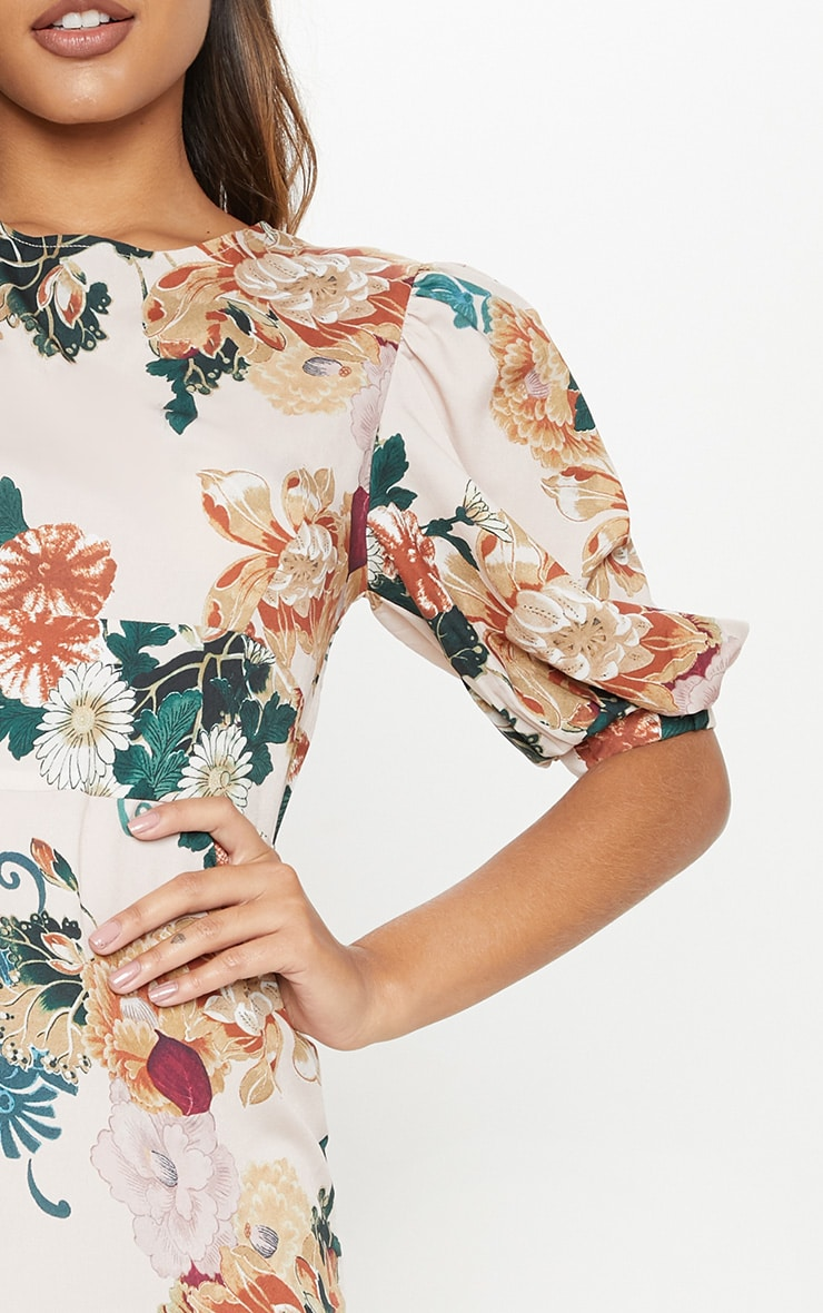Nude Floral Puff Sleeve Skater Dress 5