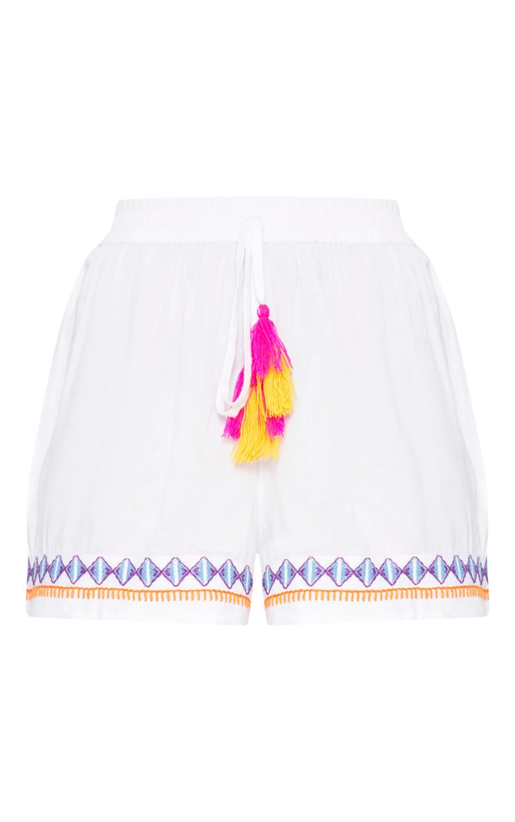 White Embroidered Floaty Shorts 3