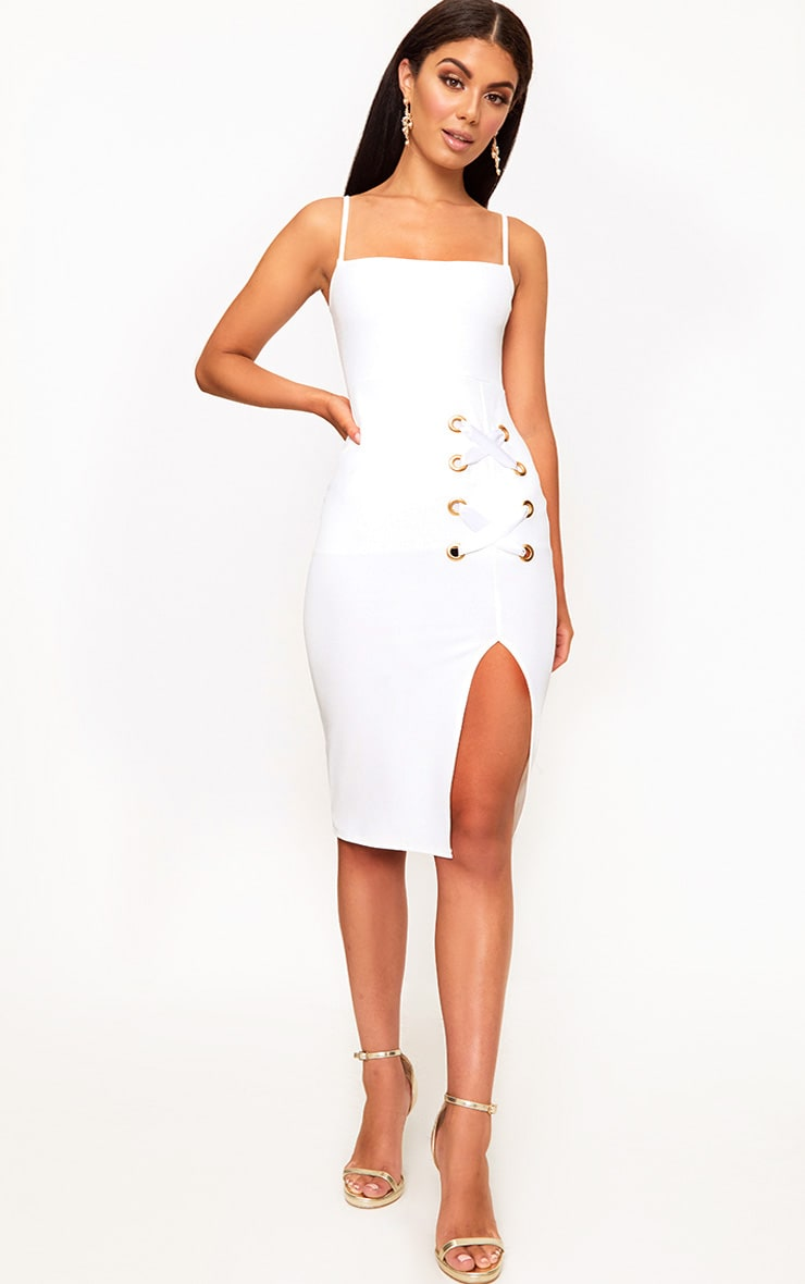 White Eyelet Satin Lace Up Detail Midi Dress 4