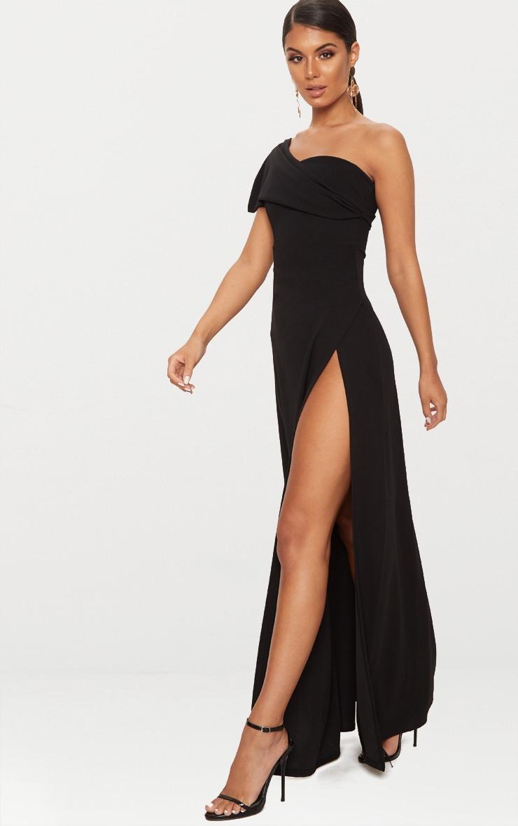 Black One Shoulder Draped Detail Extreme Split Maxi Dress 4