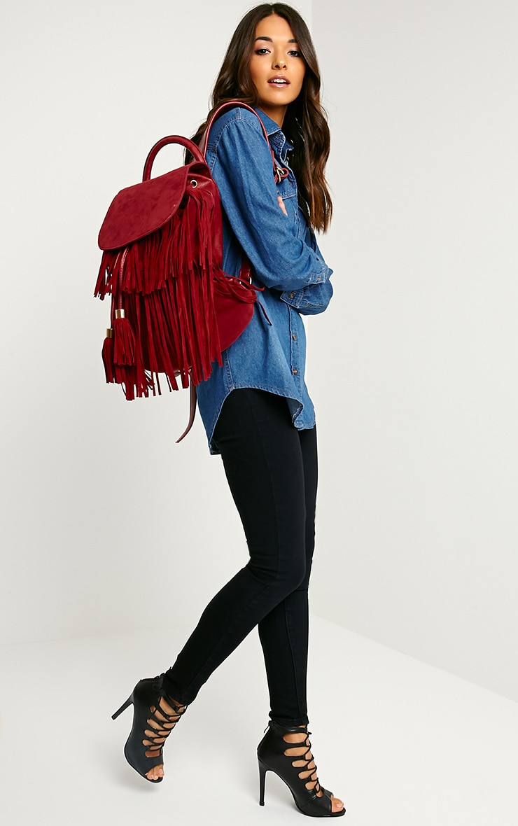 Narina Wine Suede Tassel Backpack 4