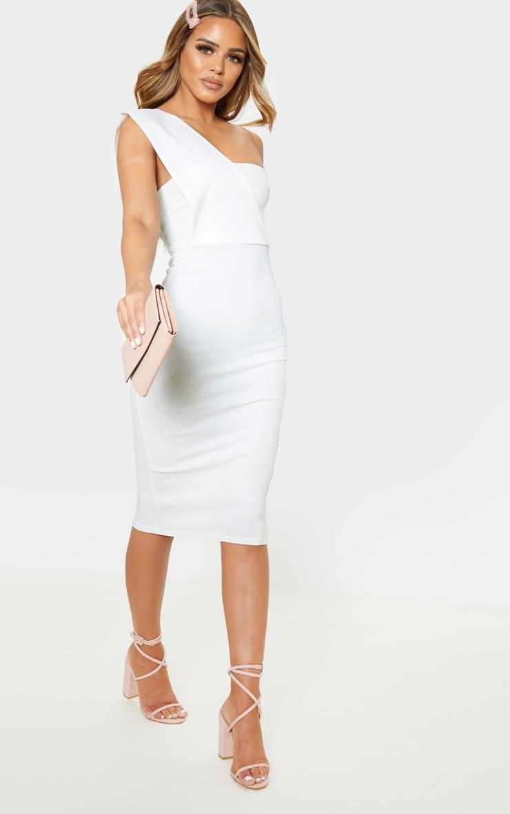 Petite Cream One Shoulder Draped Midi Dress  4