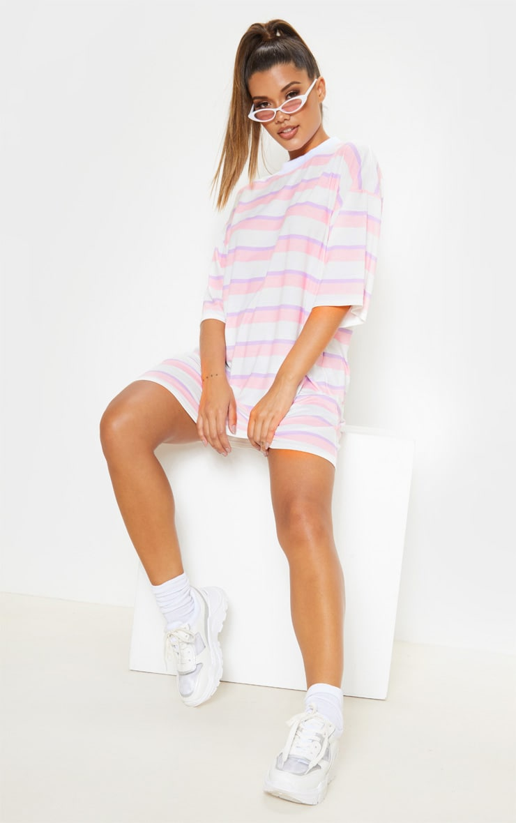 Baby Pink Stripe Oversized Boyfriend T Shirt Dress 5