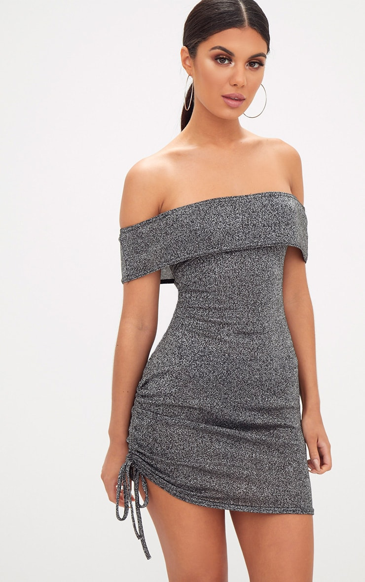 Silver Glitter Ruched Side Bardot Bodycon Dress 1