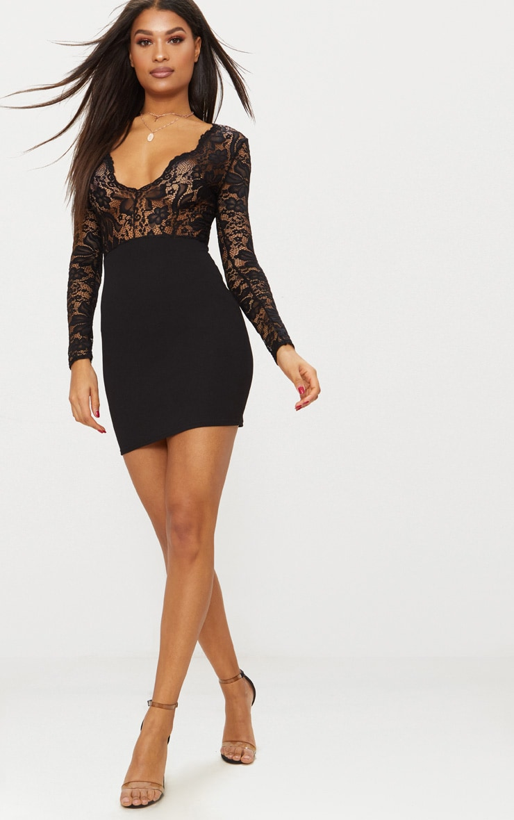 Black Lace Top Long Sleeve Bodycon Dress 4