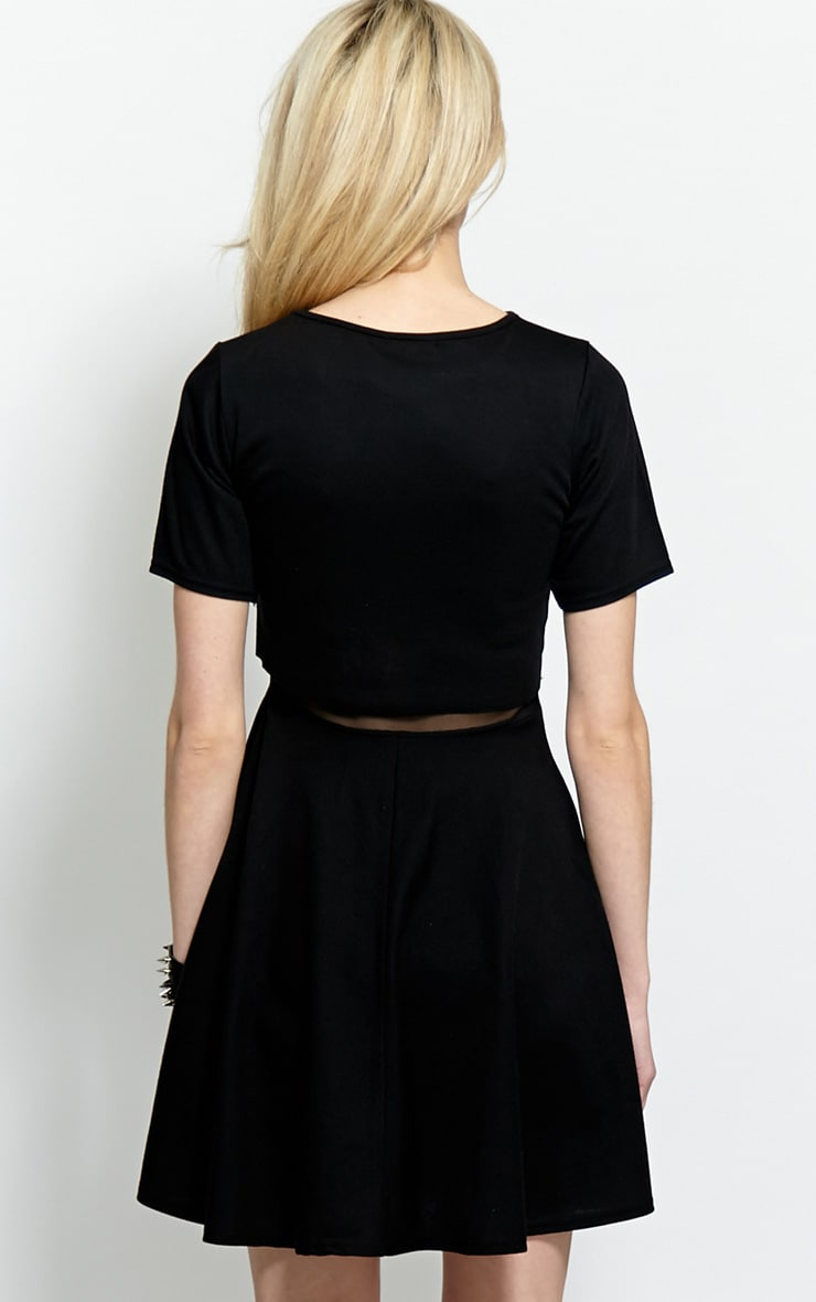 Suzie Black Jersey Mesh Skater Dress 2