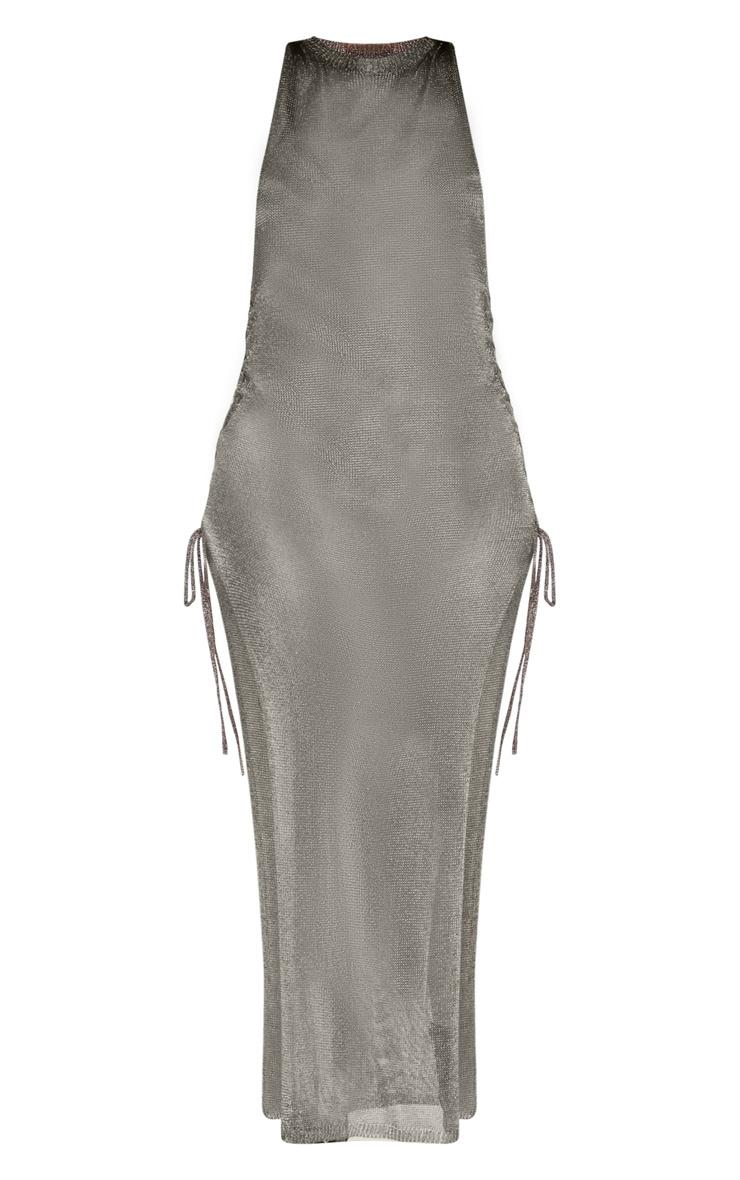 Pewter Metallic Knitted Maxi Dress 3
