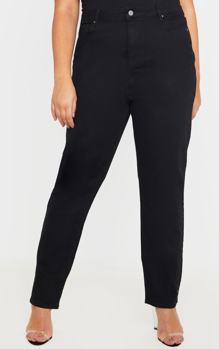 Plus Black High Waist Straight Leg Jeans 2