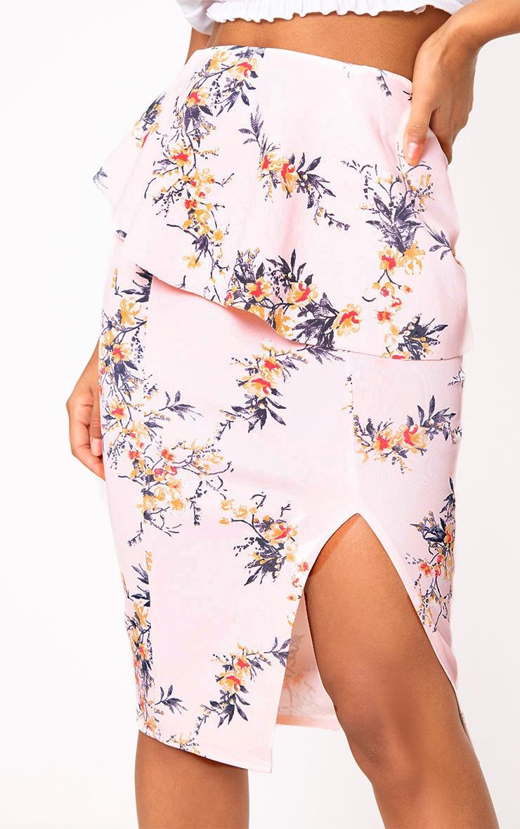 Light Pink Floral Frill Waist Split Midi Skirt 5