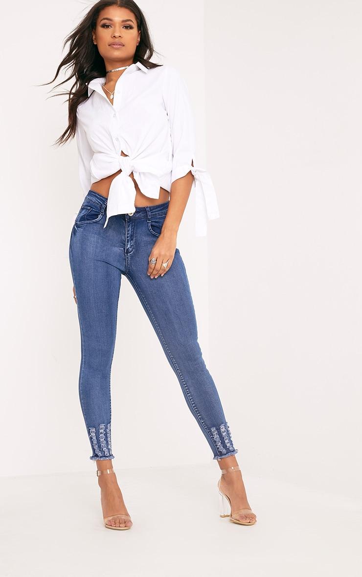Honesty Mid Wash Cut Hem Skinny Jean 1