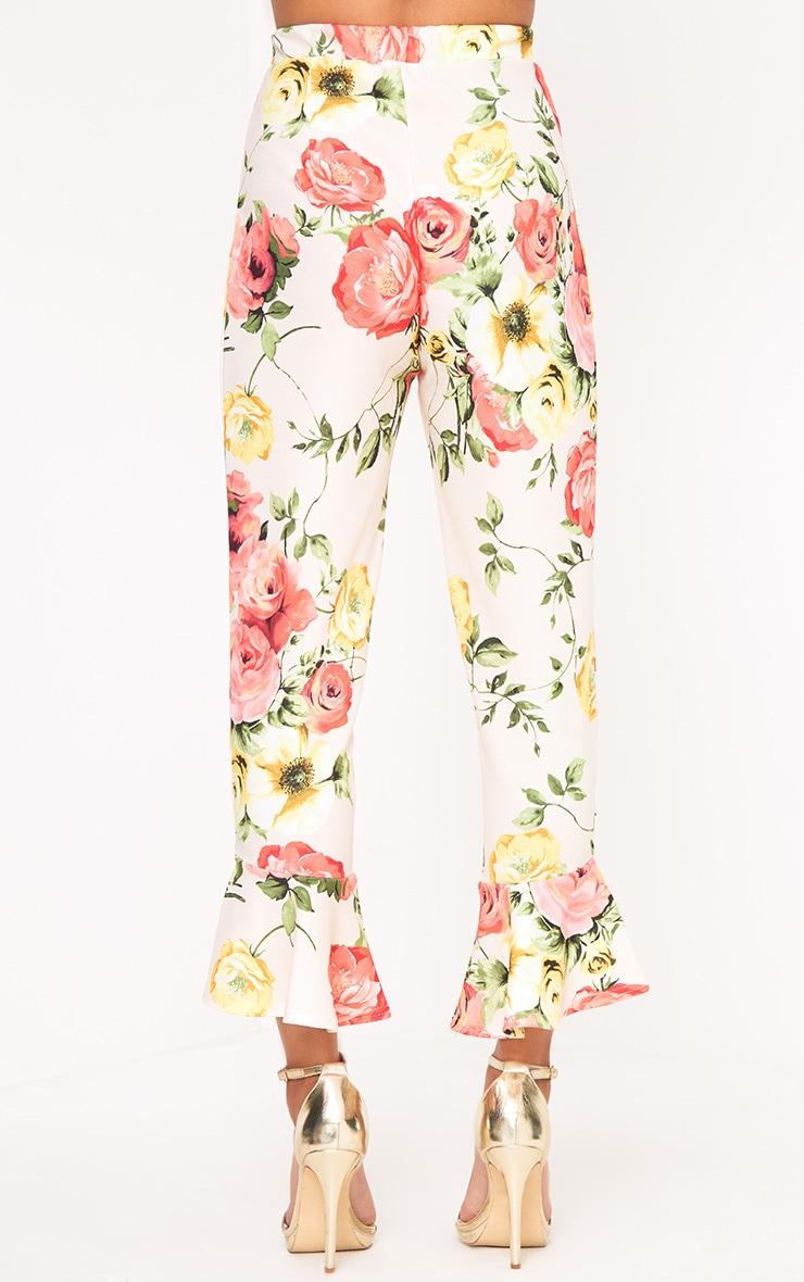 Stone Floral Print Flare Hem Trousers 4