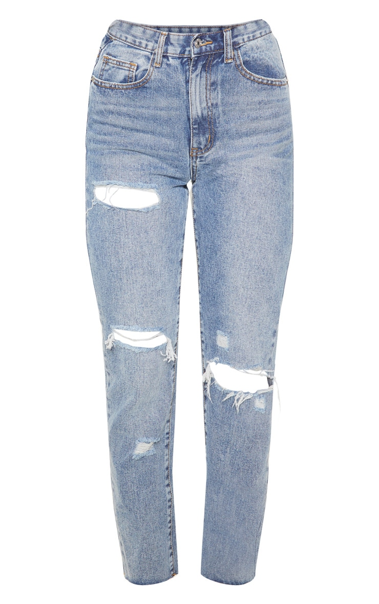 Mid Wash Straight Leg Jeans 3