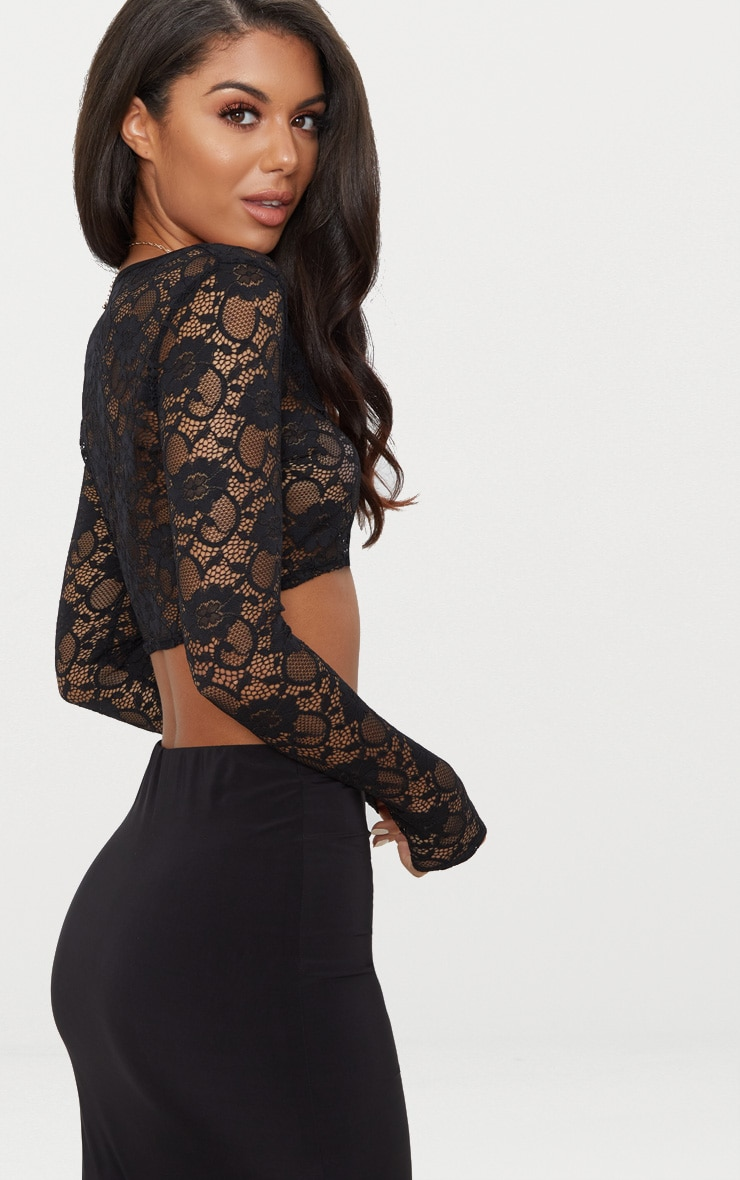 Black Lace Long Sleeve Square Neck Crop Top 2