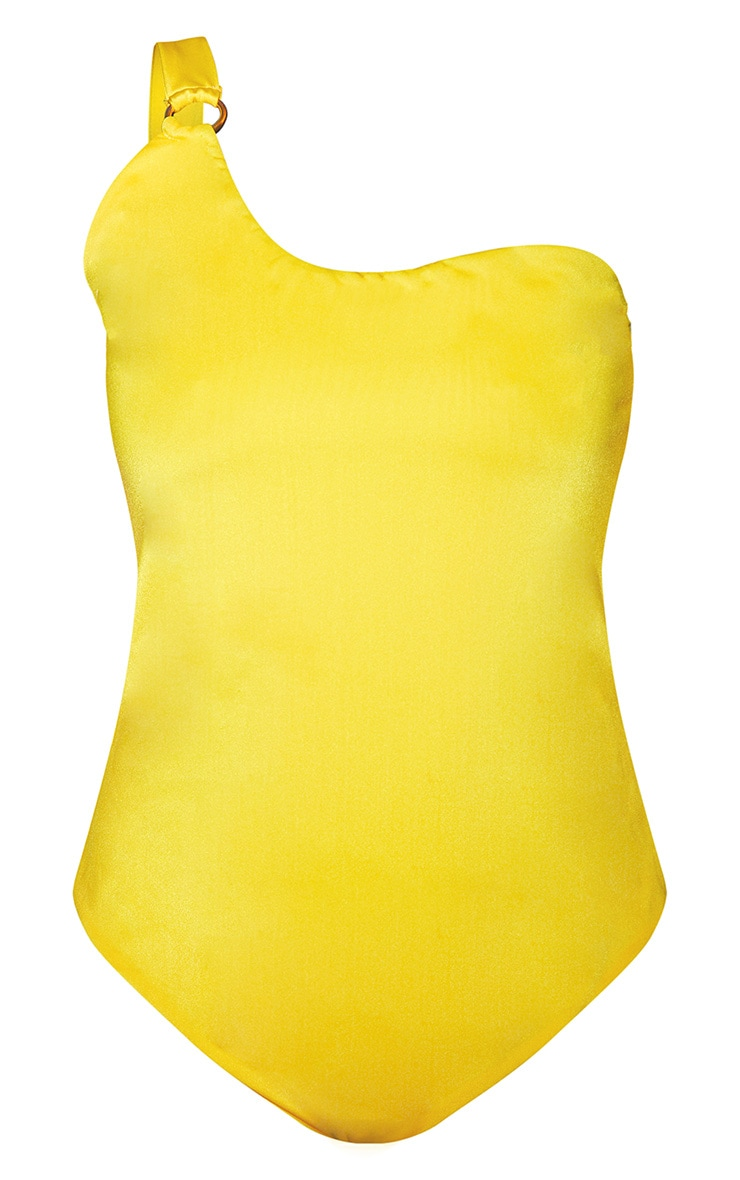 Plus Bright Yellow Asymmetric Ring Detail Swimsuit 2