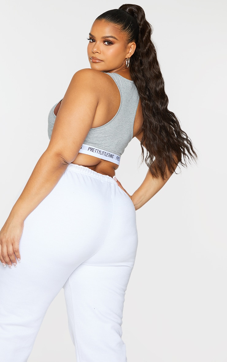 PRETTYLITTLETHING Plus Grey Light Sports Bra 2