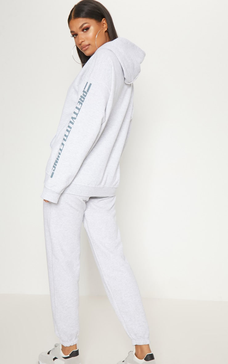 PRETTYLITTLETHING Grey Logo Stripe Oversized Hoodie 2