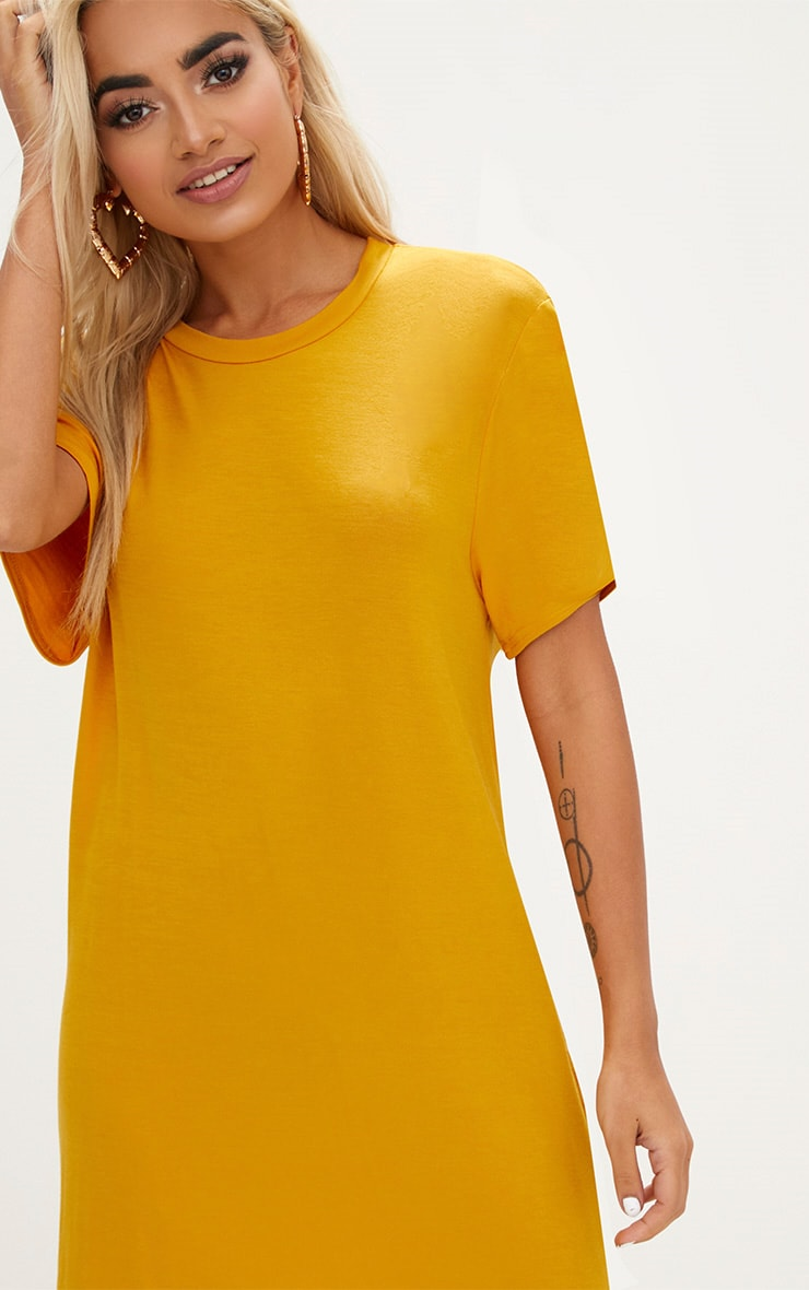 Basic Mustard Short Sleeve Tshirt Dress 5