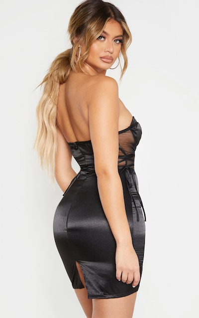 Black Bandeau Corset Detail Mesh Insert Satin Bodycon Dress
