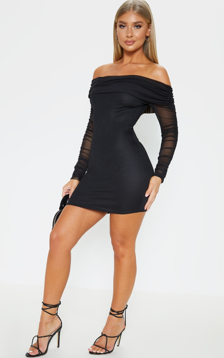 Black Mesh Sleeve Bardot Bodycon Dress 4