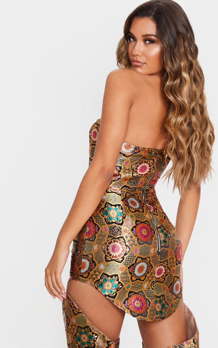 Gold Jacquard Bandeau Curve Hem Bodycon Dress 2