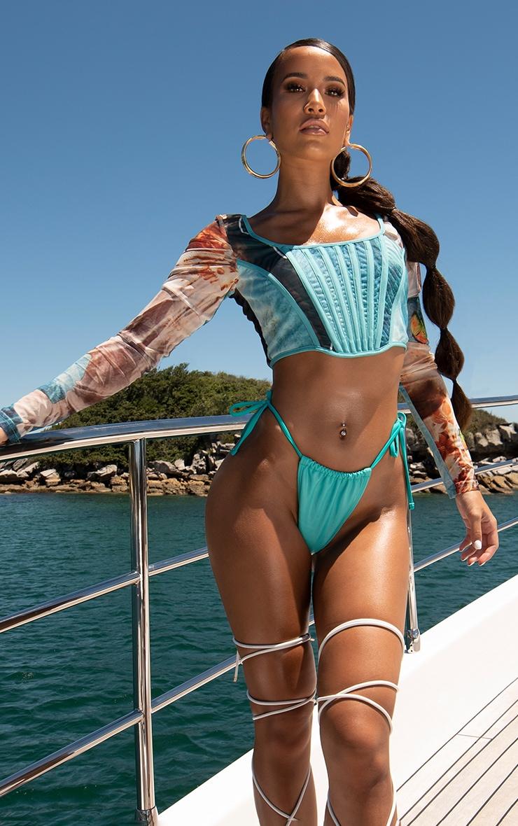 Bas de bikini turquoise à lien sur les côtés 3