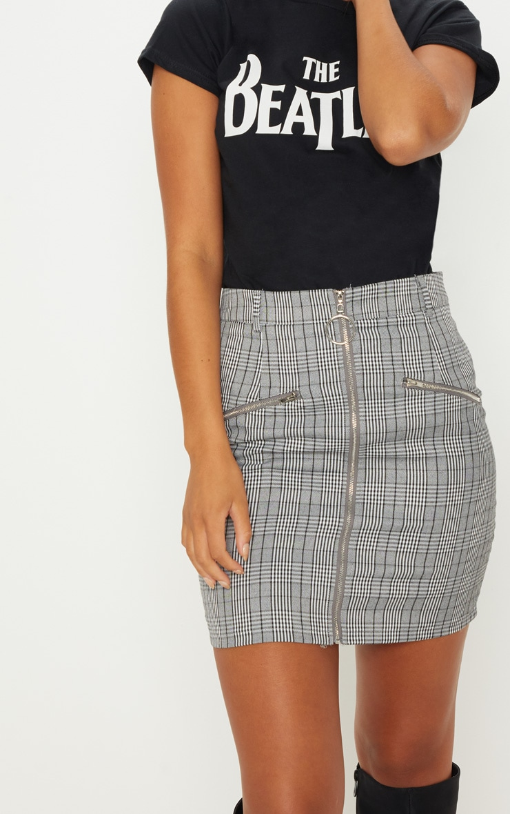 Monochrome Zip Front Check Mini Skirt 6