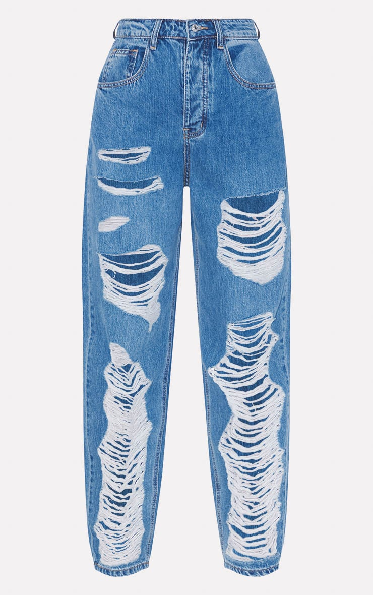 PRETTYLITTLETHING Mid Blue Distressed Boyfriend Jeans 6