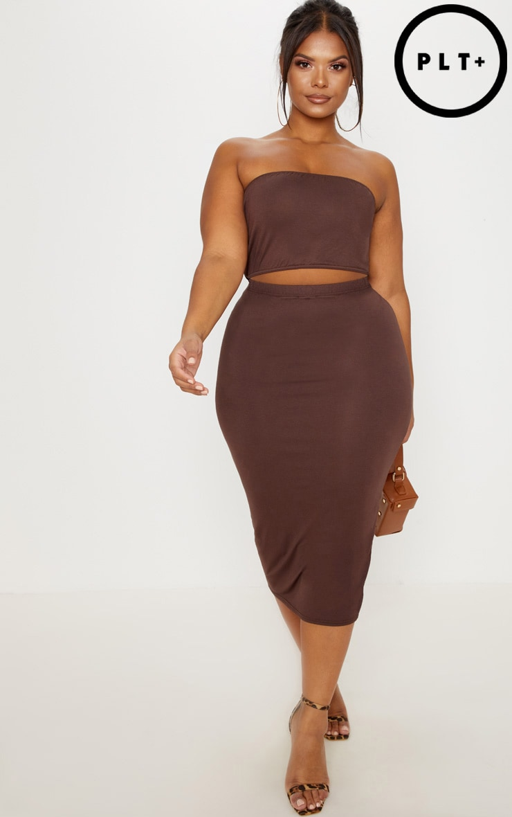 Plus Chocolate Brown Jersey Midi Skirt