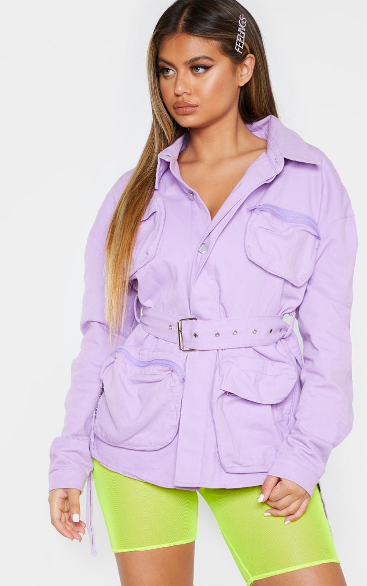 Lilac Military Pencil Pocket Denim Jacket 1