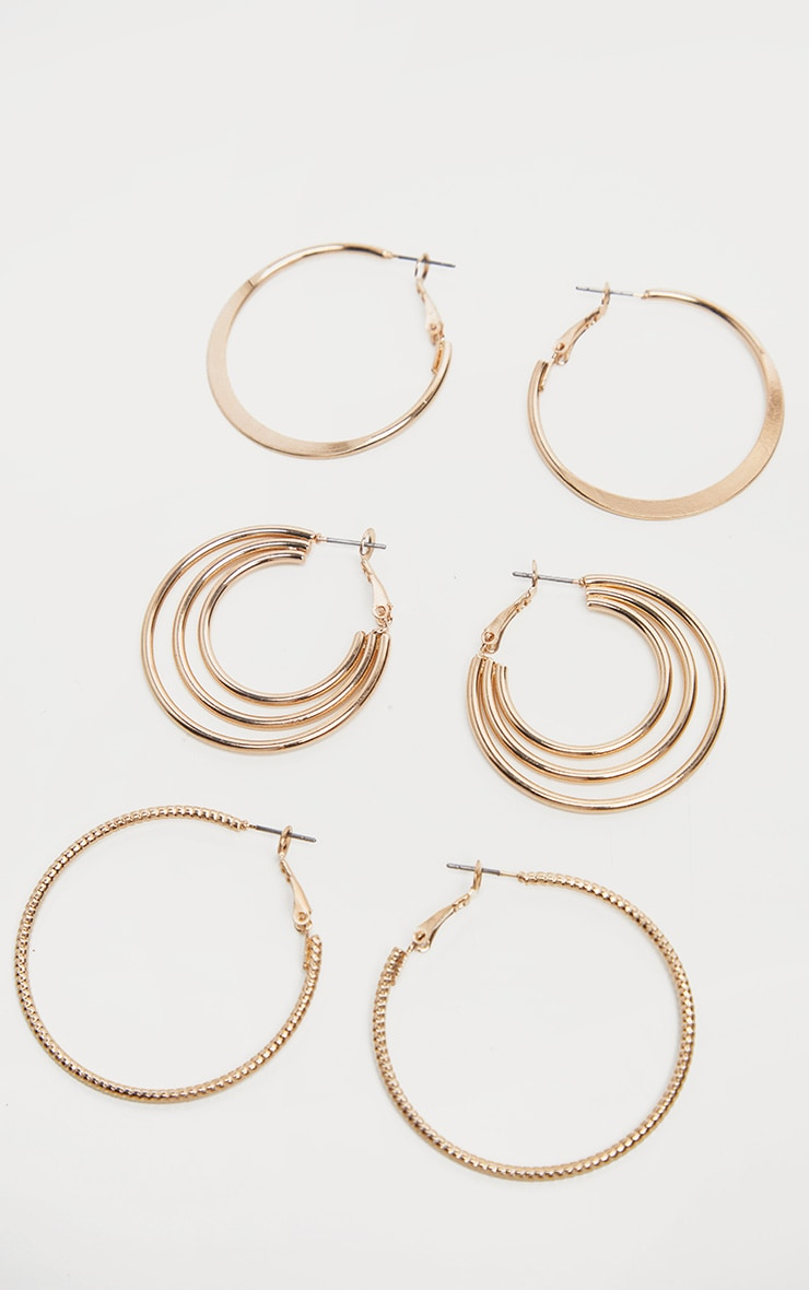 15801da24be38a Gold Small Twisted Textured And Hoop Earring Pack | PrettyLittleThing