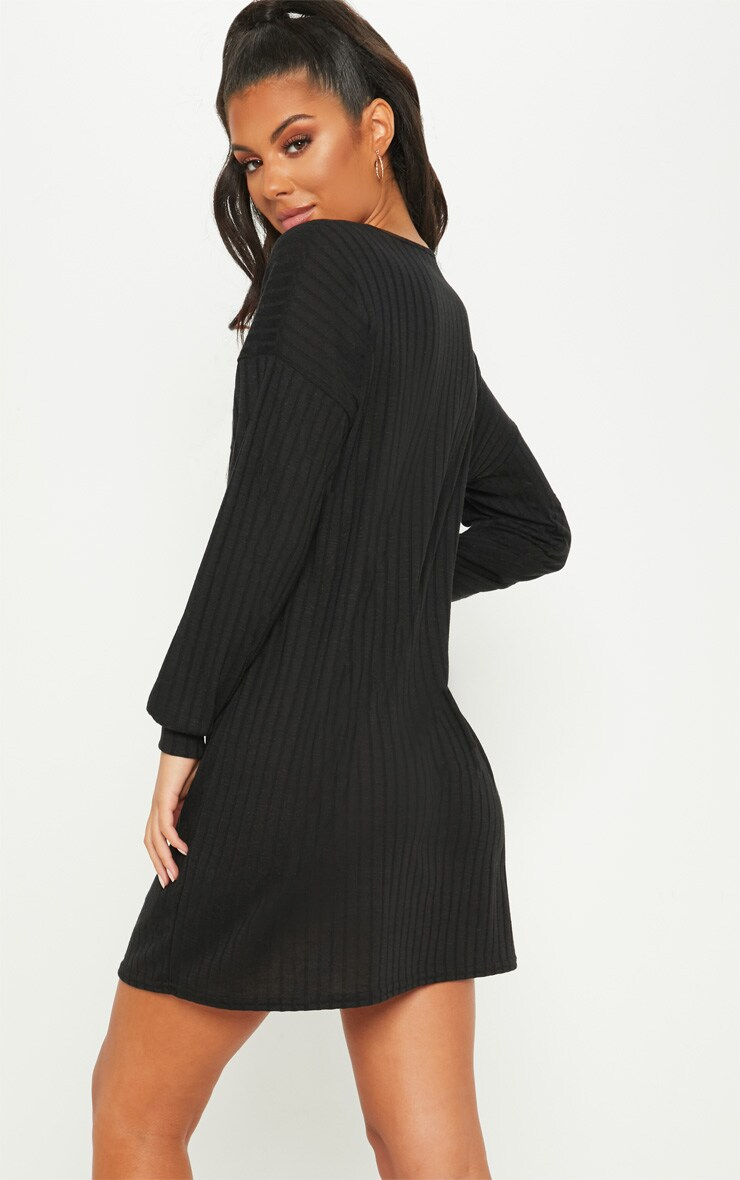 Black Wide Ribbed Oversized Jumper Dress 2