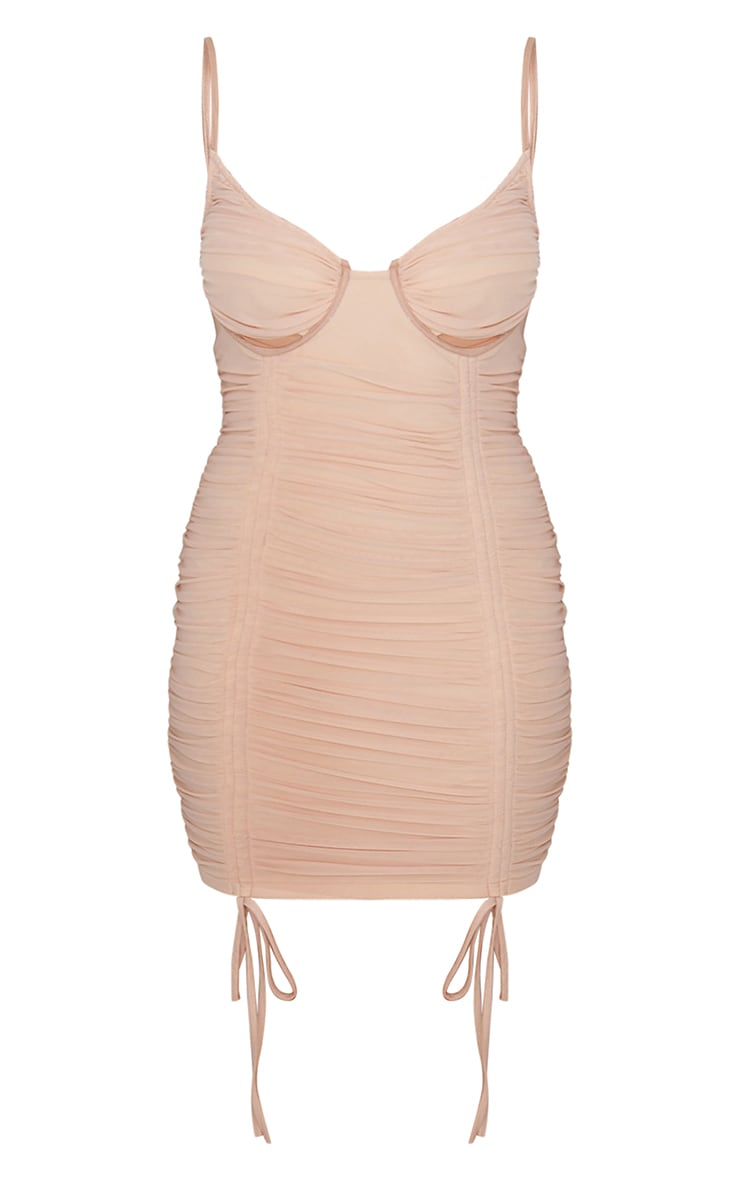 Nude Mesh Ruched Underbust Detail Strappy Bodycon Dress 5