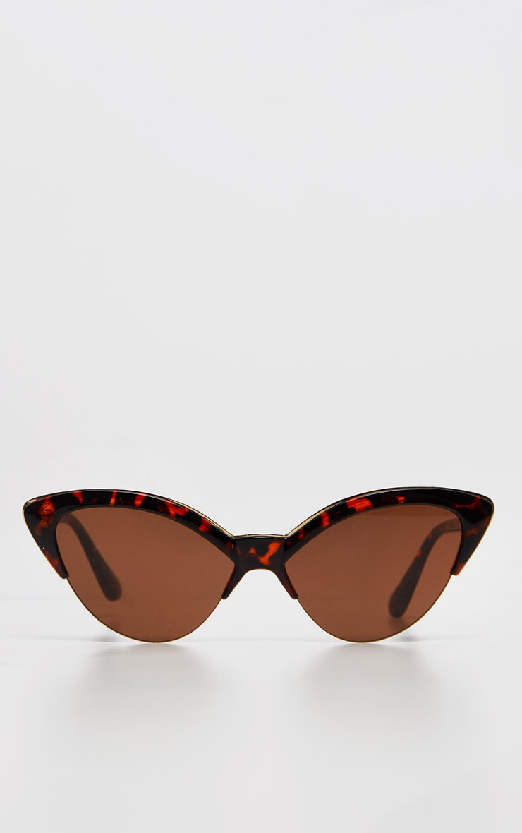 Brown Tortoiseshell  Gold Metal Edge Pointed Cat Eye Sunglasses        2