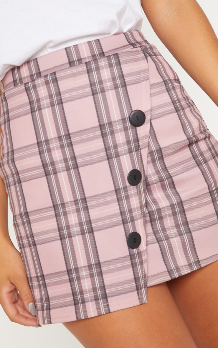 Pink Check Button Skirt 6