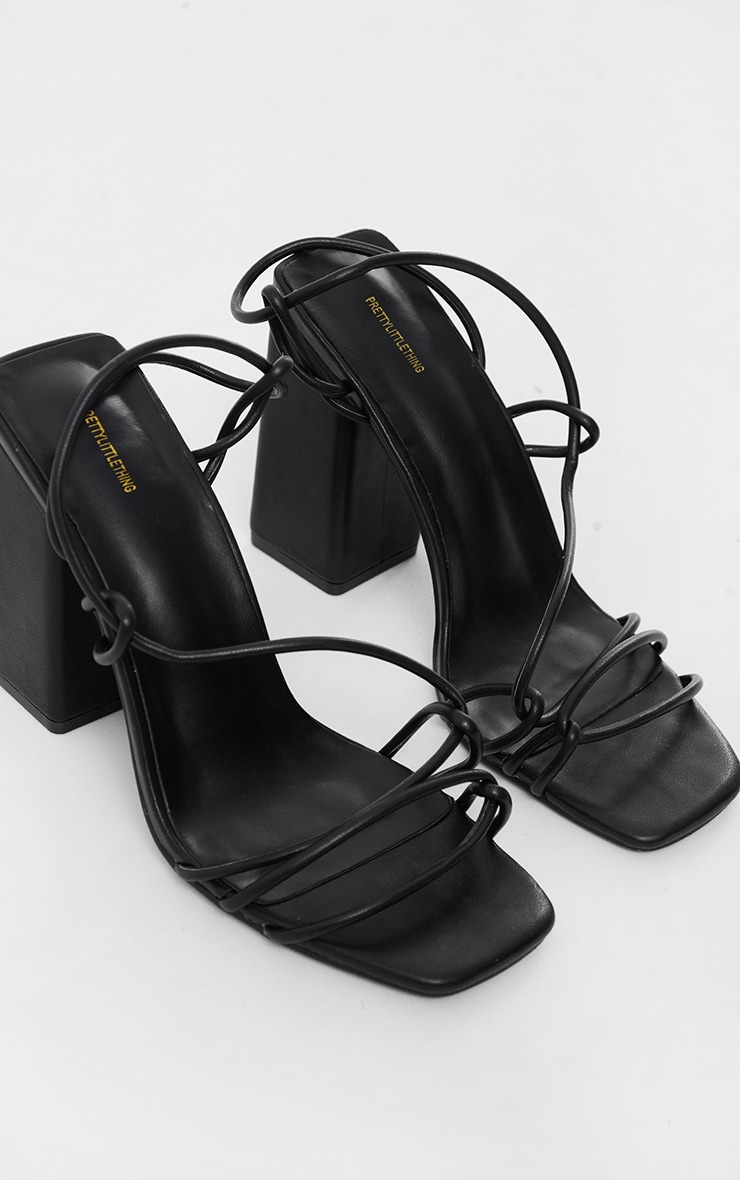 Black PU Lace Up Sling Back Block Heeled Sandals 3
