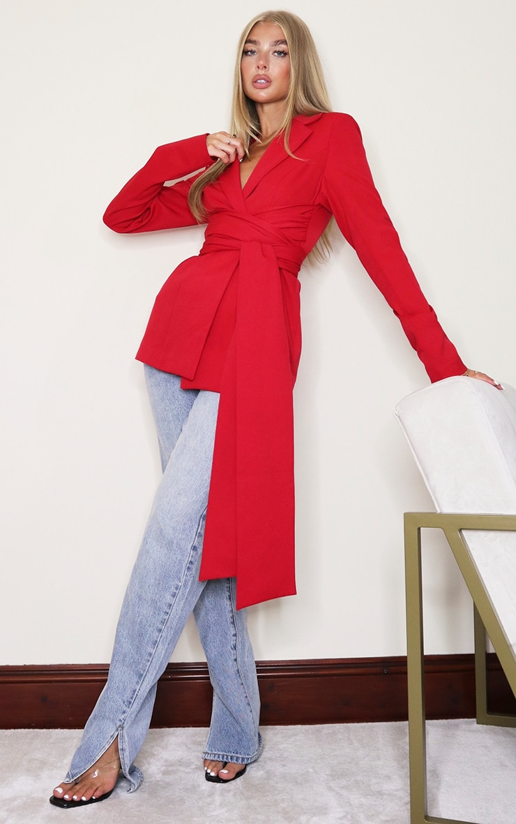 Red Woven Wrap Around Belted Fitted Blazer 3