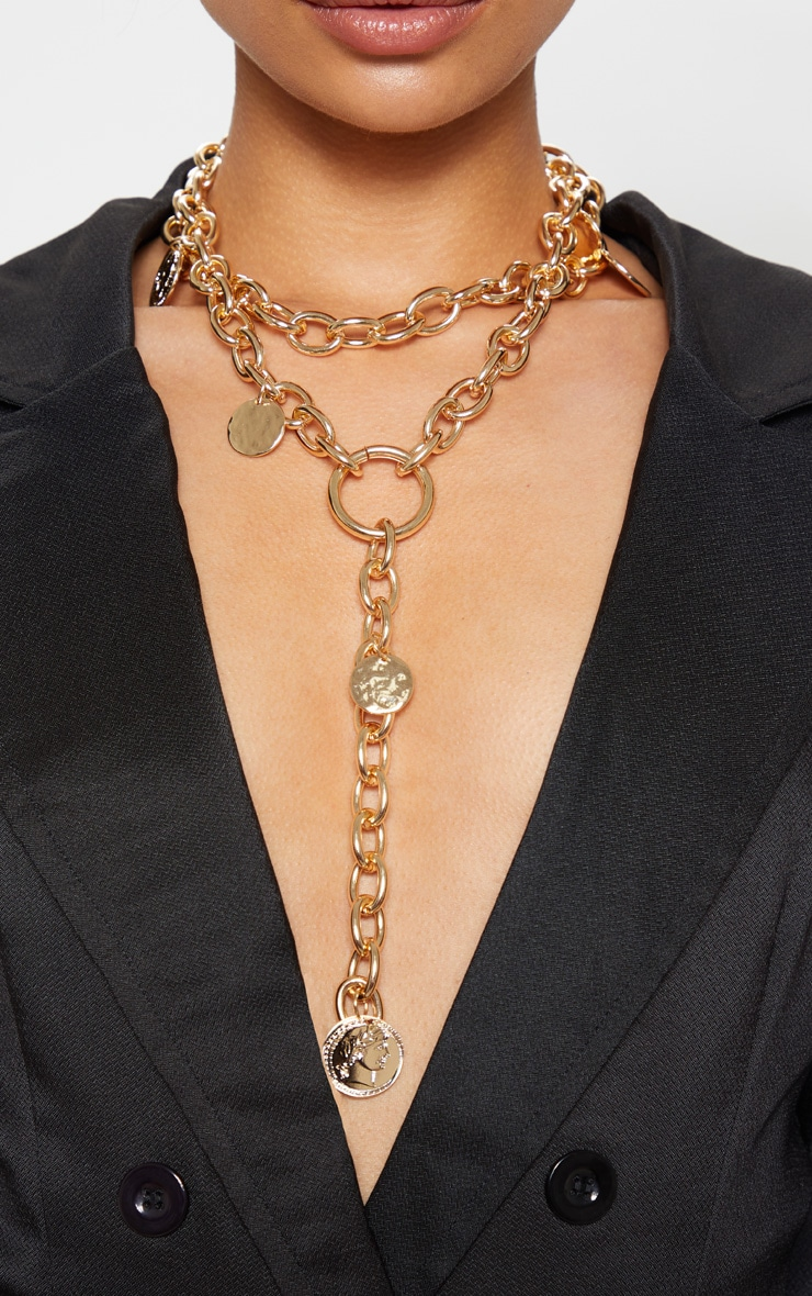 Gold Chain And Disc Lariat Necklace 2