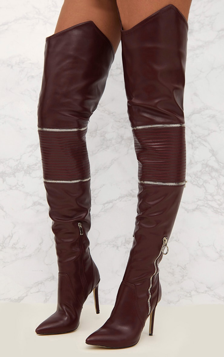 Burgundy Thigh High Heeled Biker Boots  5