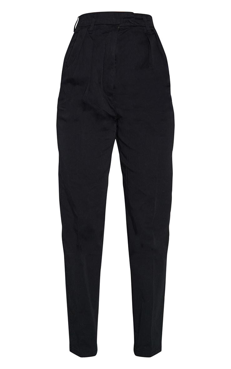Black Twill Placket Darted Straight Leg Pants 5