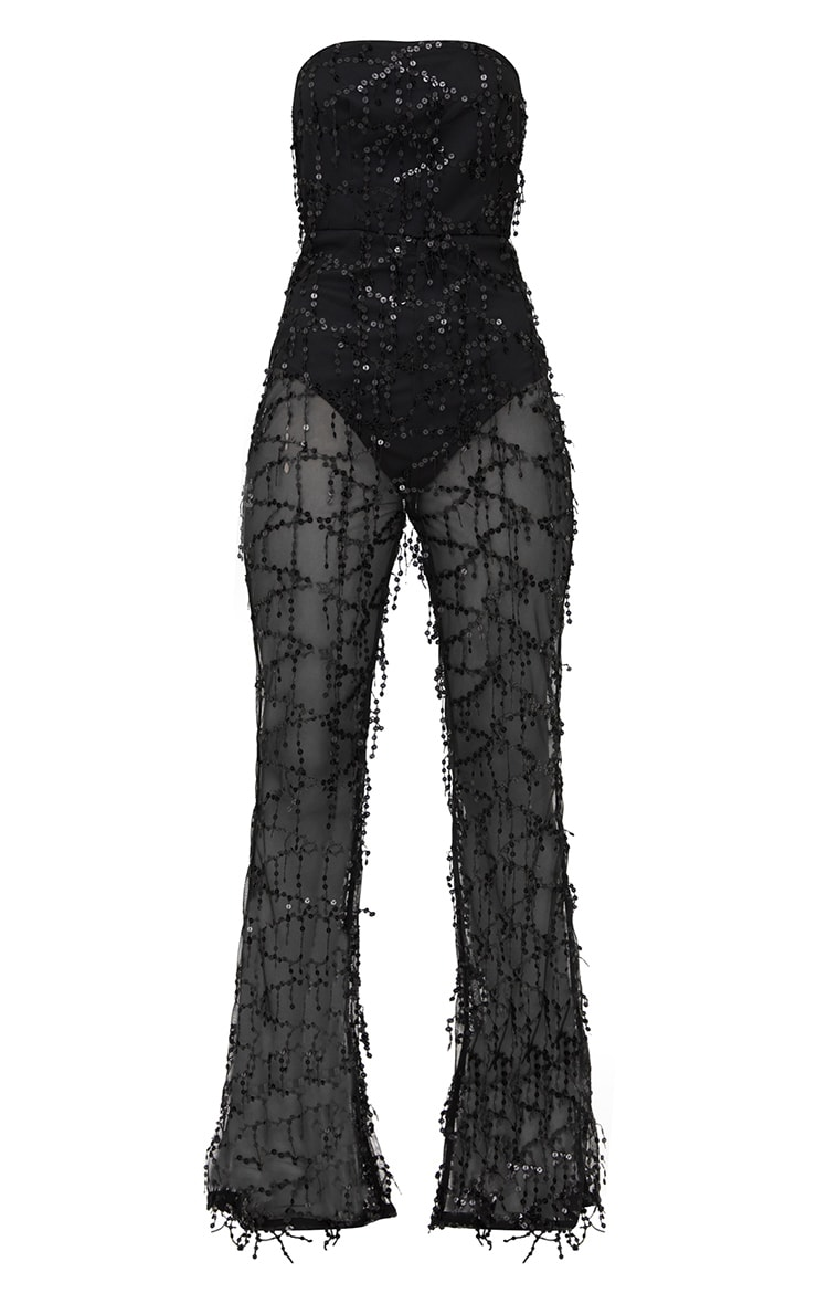 Black Sequin Bandeau Jumpsuit 3