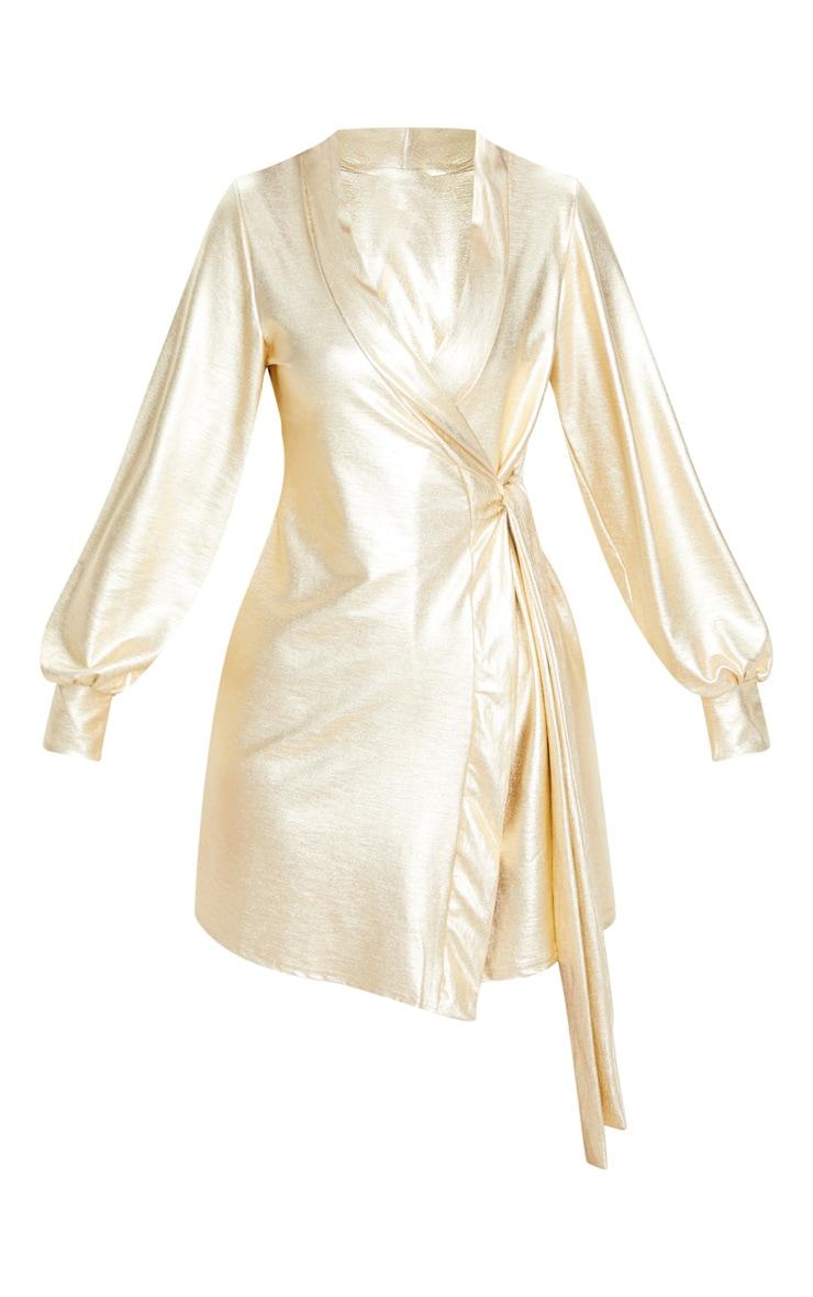 Gold Metallic Long Sleeve Tie Detail Shift Dress 3