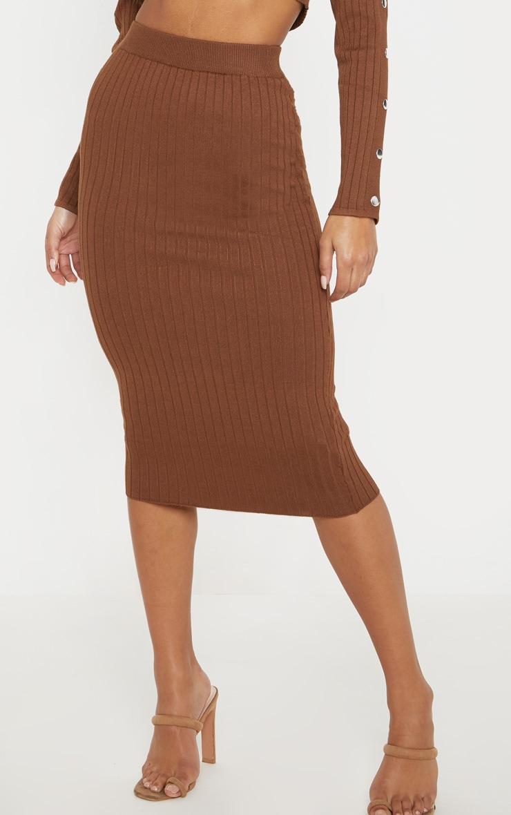 Chocolate Knitted Midi Skirt  3