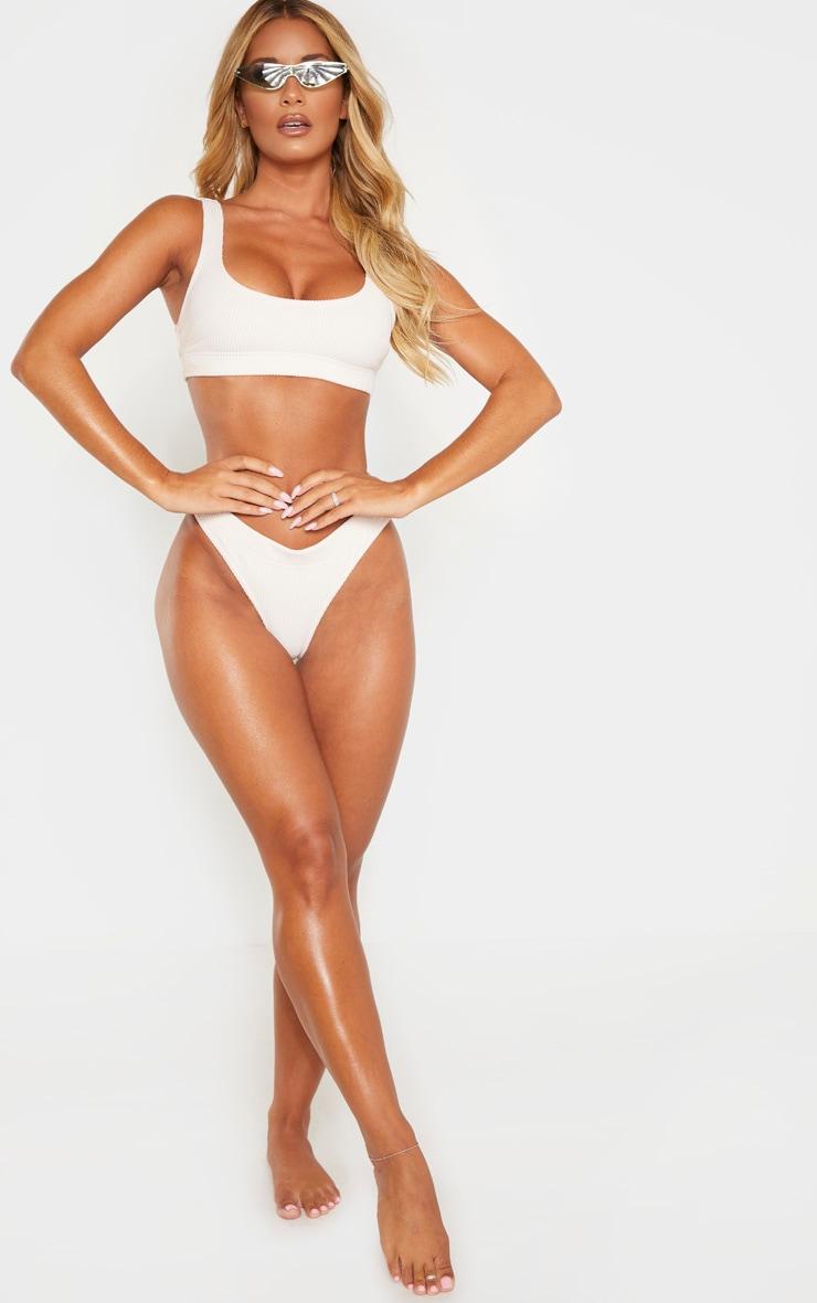 Nude Ribbed Elasticated Scoop Bikini Top 4