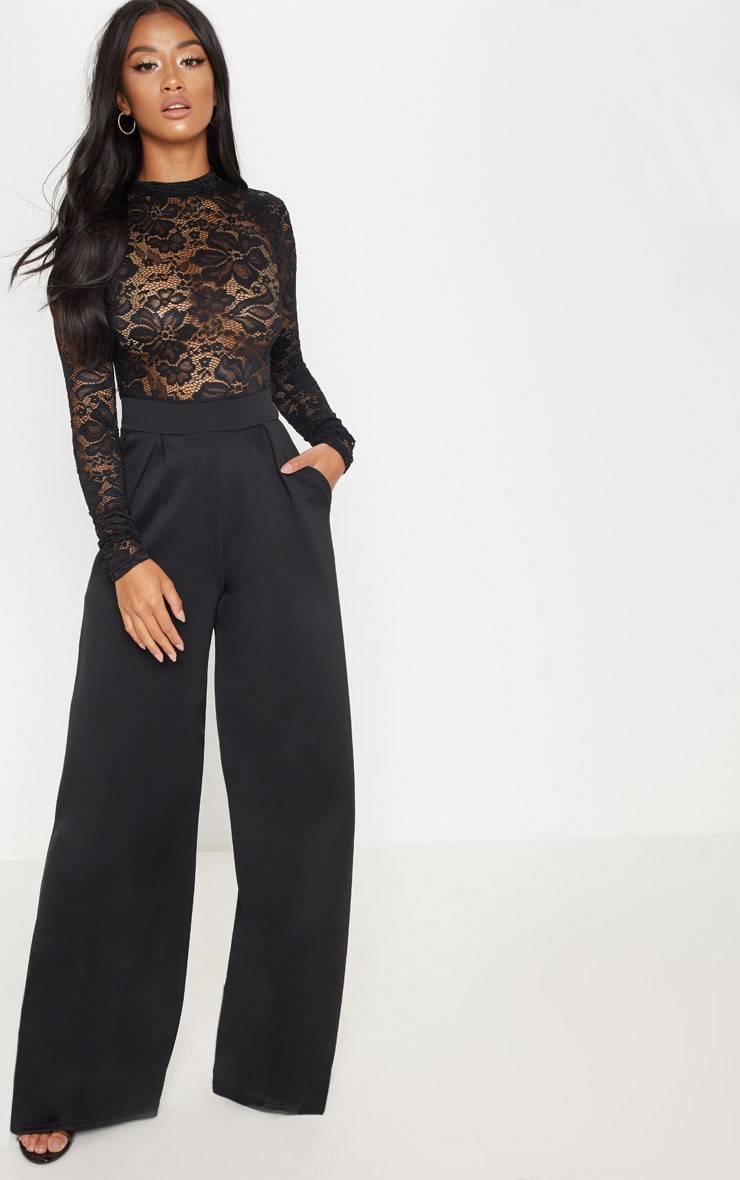 Petite Black Lace High Neck Long Sleeve Jumpsuit 1