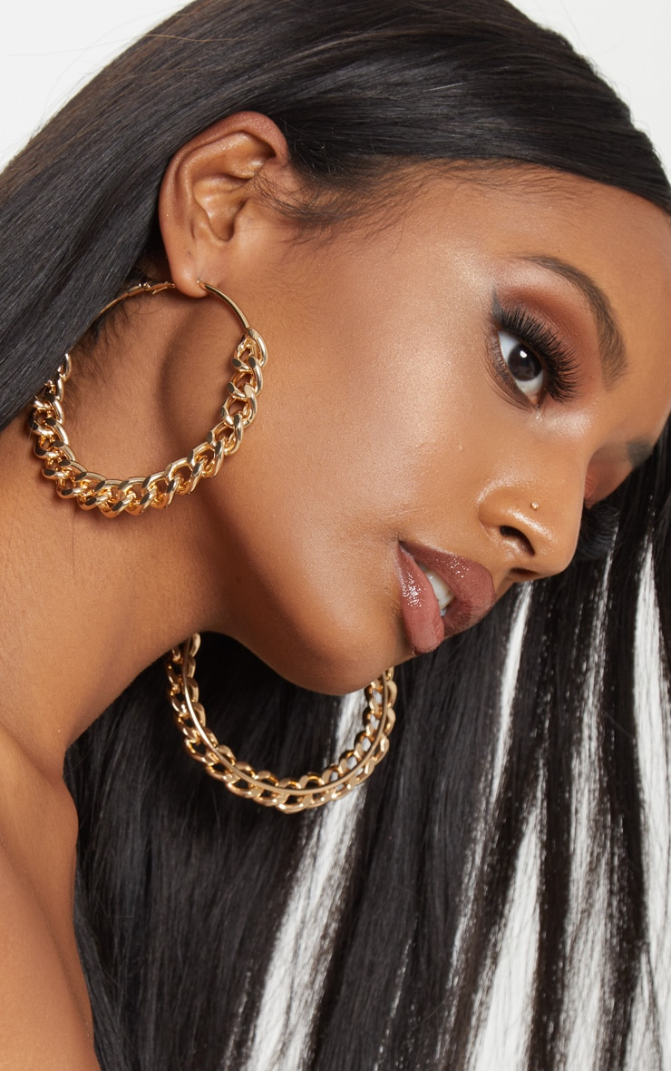 Gold Chunky Chain Hoops 1