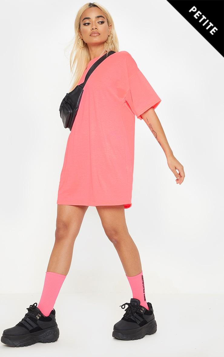 Petite Neon Pink  Oversized T Shirt Dress 1