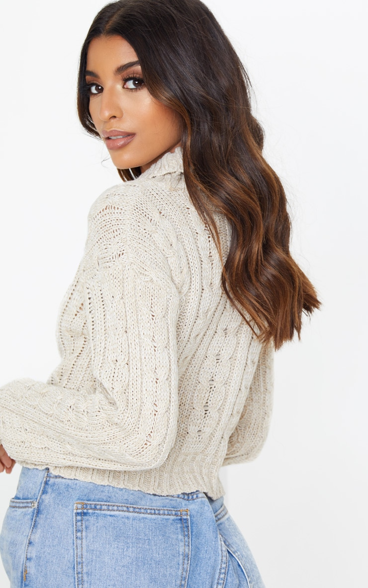 Oatmeal All Over Cable Knit Roll Neck Crop Jumper 2