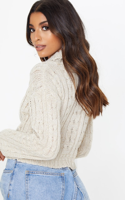 Oatmeal All Over Cable Knit Roll Neck Crop Jumper